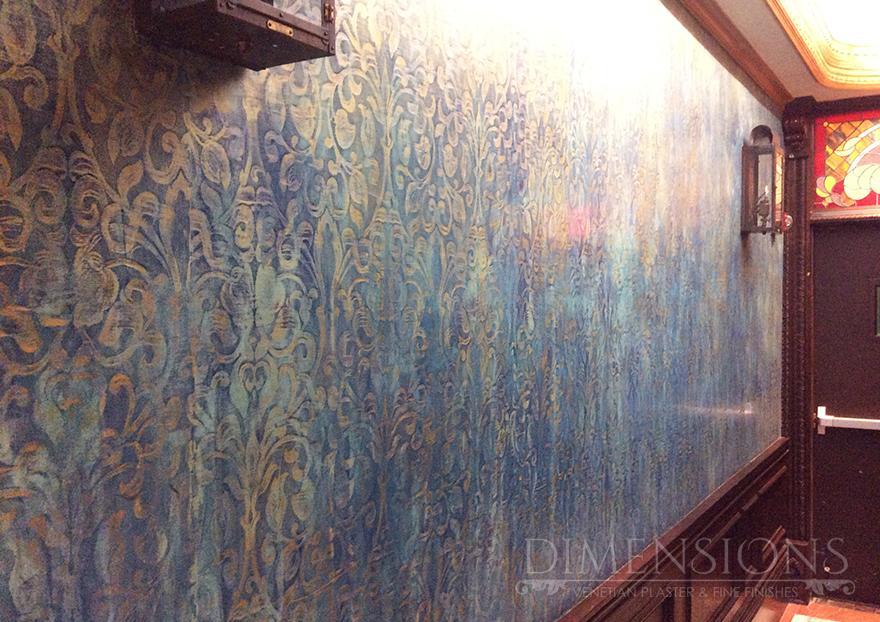 Multi Colored Venetian Plaster With Spanish Lace Pattern